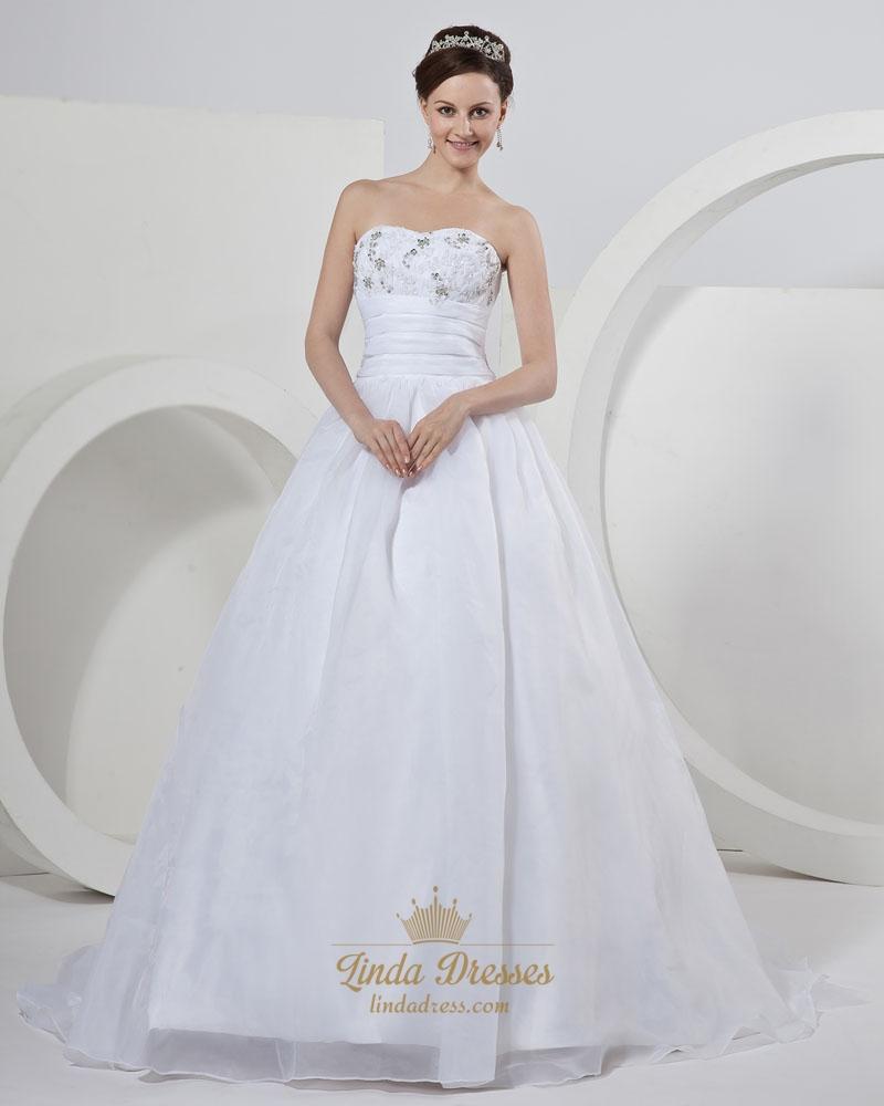 White organza sweetheart strapless wedding dress with for White strapless wedding dresses