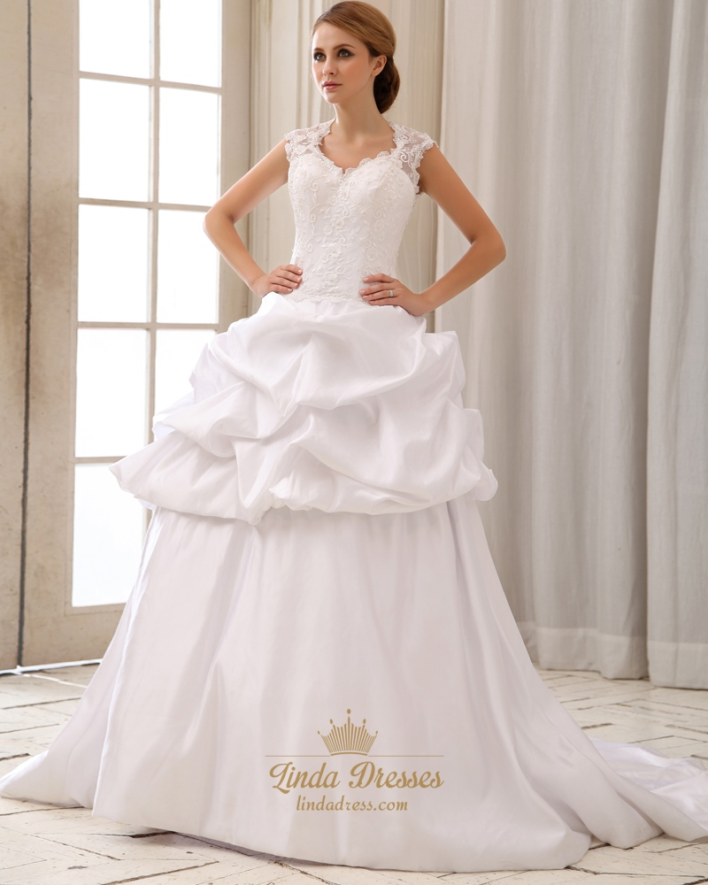 White taffeta pick up wedding dress with cap sleeves and for Pick up wedding dress