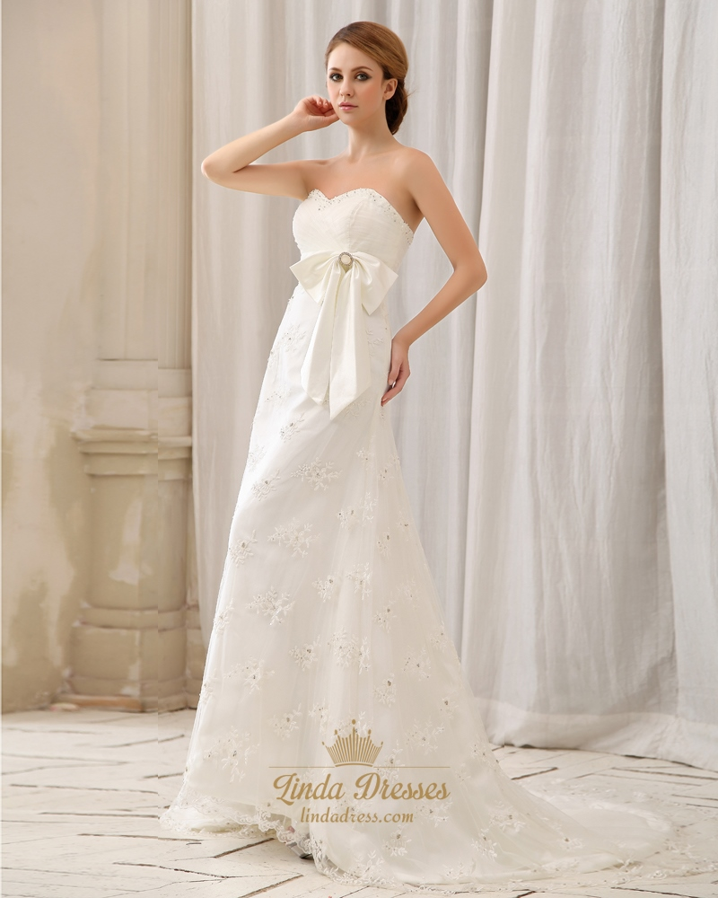 Ivory strapless sweetheart empire waist lace wedding dress for Ivory wedding dress sash