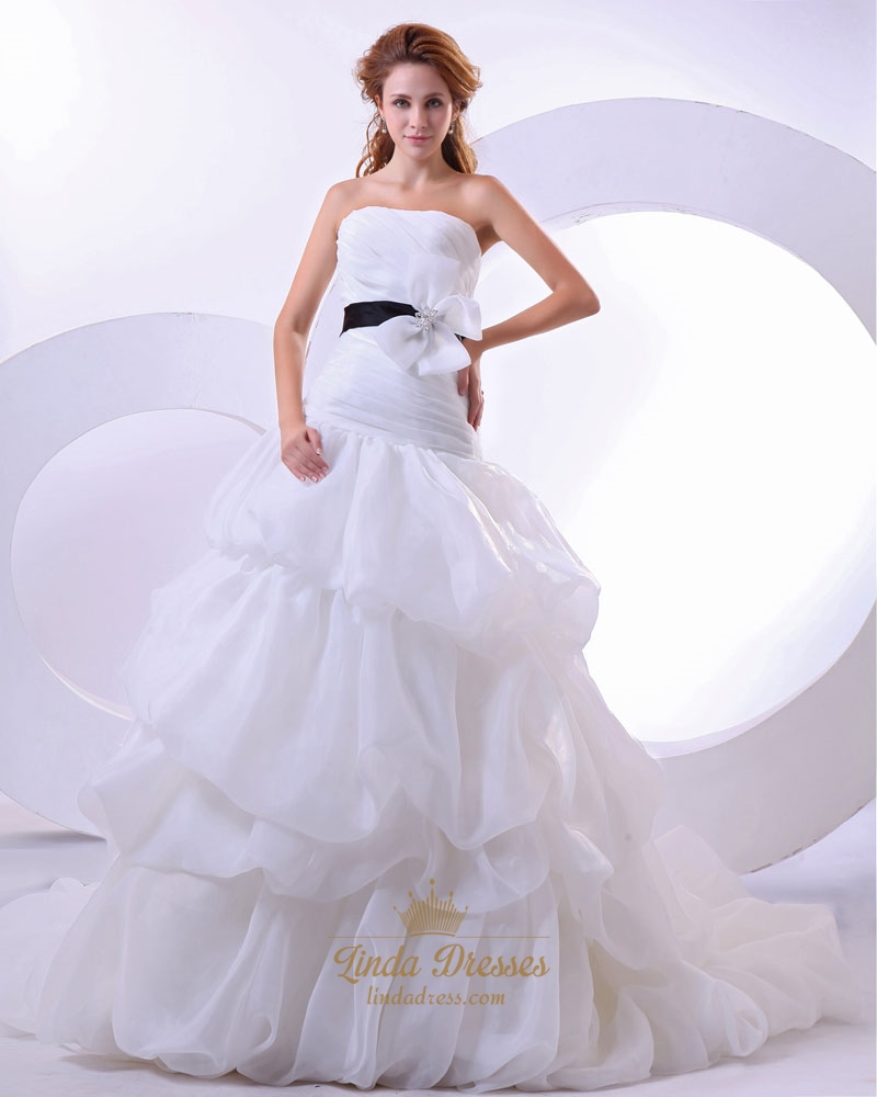White Strapless Dropped Waist Organza Wedding Dress With Black Sash