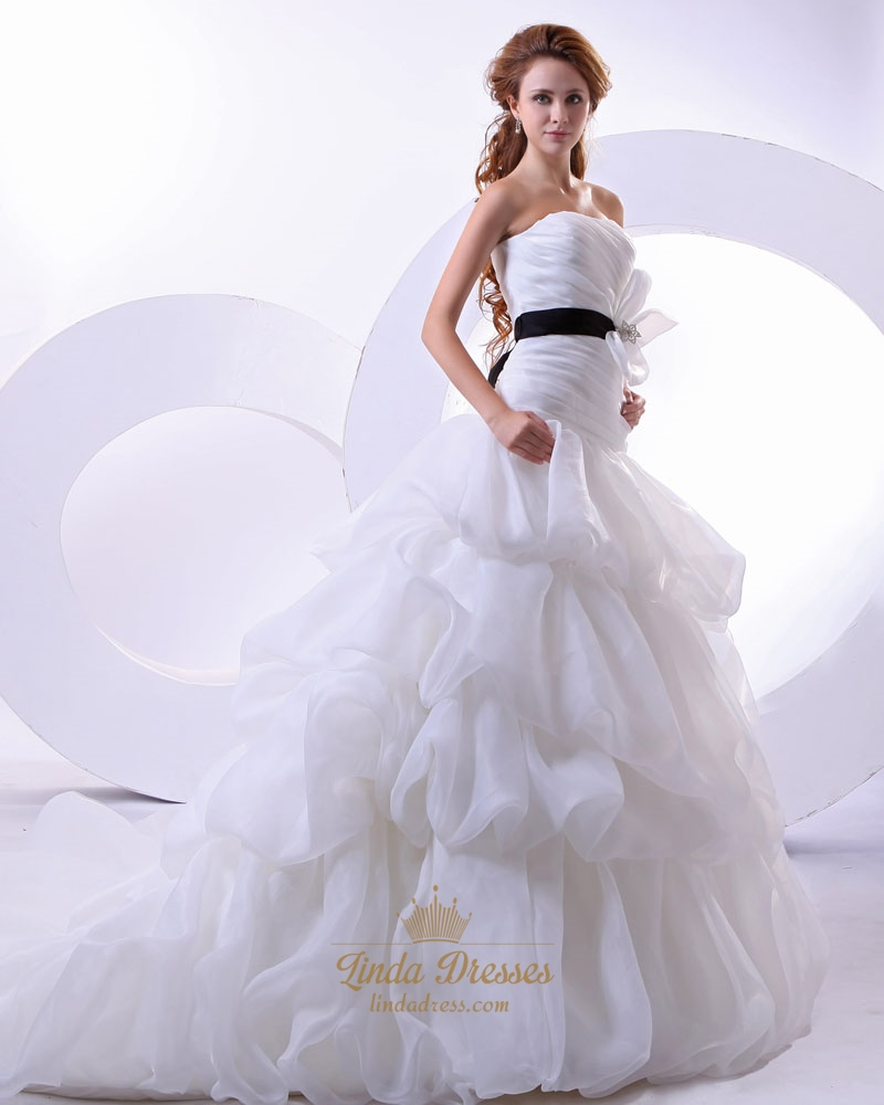 White strapless dropped waist organza wedding dress with for White wedding dress with black sash