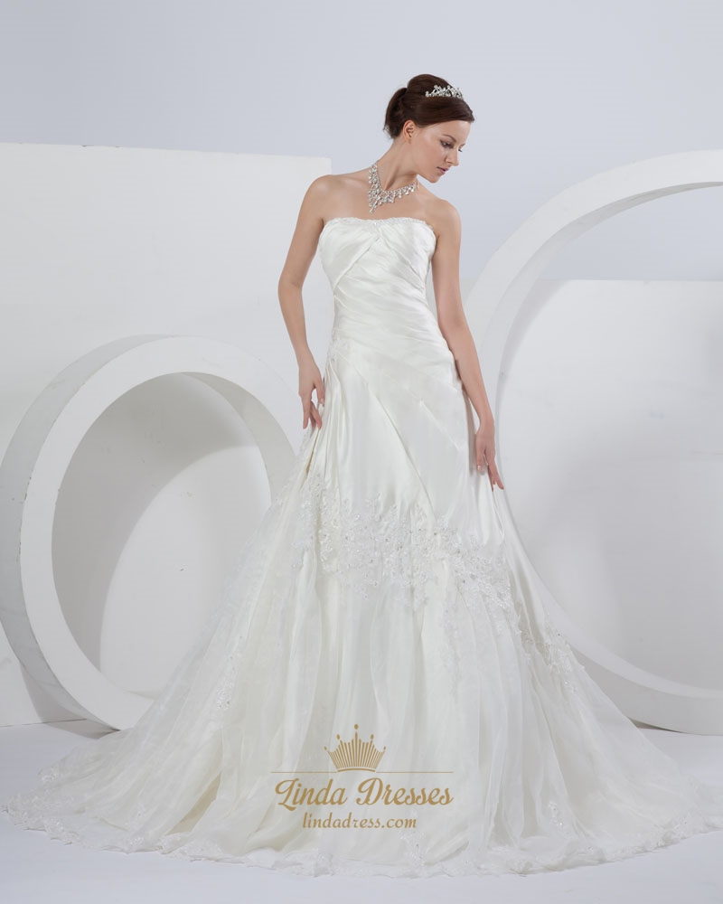 Ivory a line strapless chapel train wedding dresses with for Design your own wedding dress app