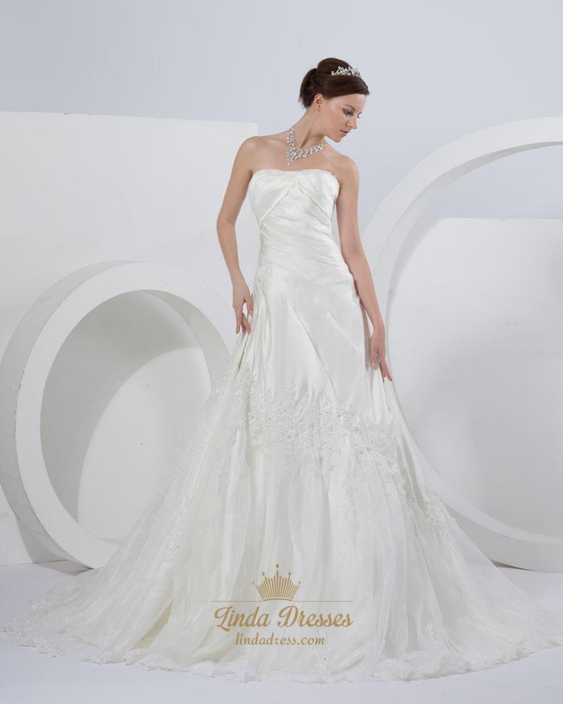Ivory a line strapless chapel train wedding dresses with for Chapel train wedding dresses