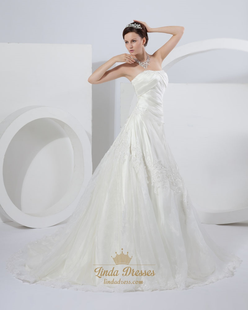 Ivory a line strapless chapel train wedding dresses with for Wedding dresses chapel train