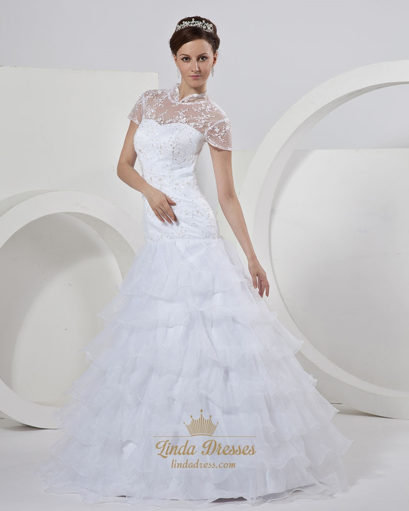 White lace bodice organza tiered skirt wedding dress with for Sheer bodice wedding dress