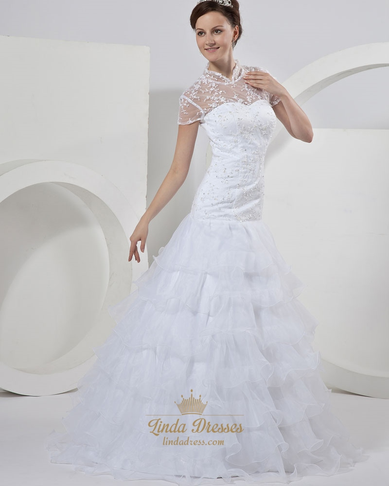 White Lace Bodice Organza Tiered Skirt Wedding Dress With Short Sleeve ...