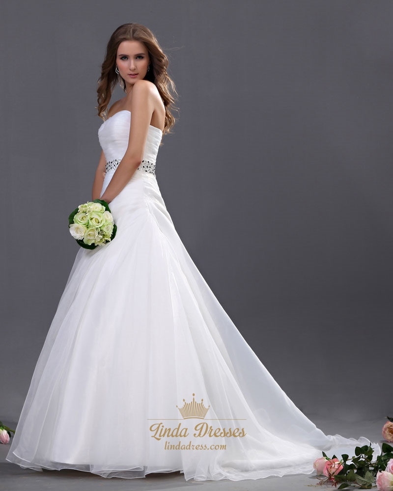 white sweetheart strapless organza wedding dresses with