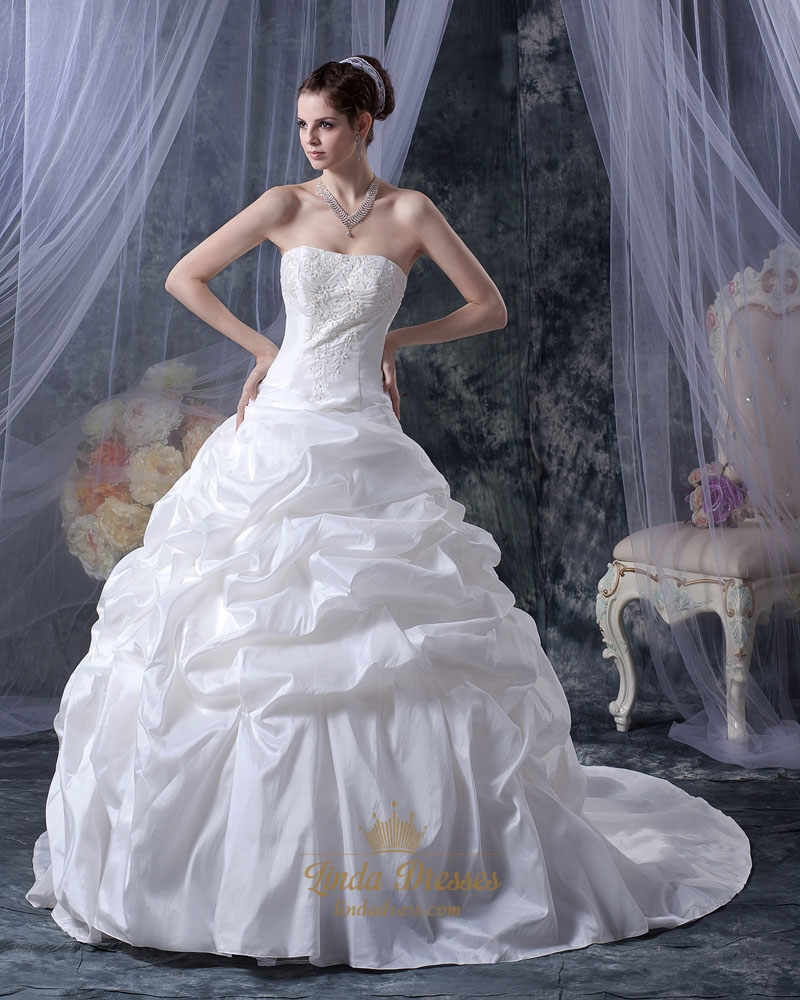White strapless taffeta pick up wedding dress with beaded for Pick up wedding dress