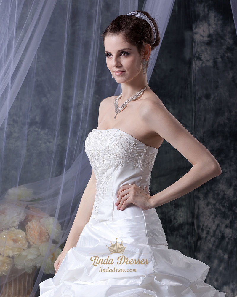 White strapless taffeta pick up wedding dress with beaded for White strapless wedding dresses