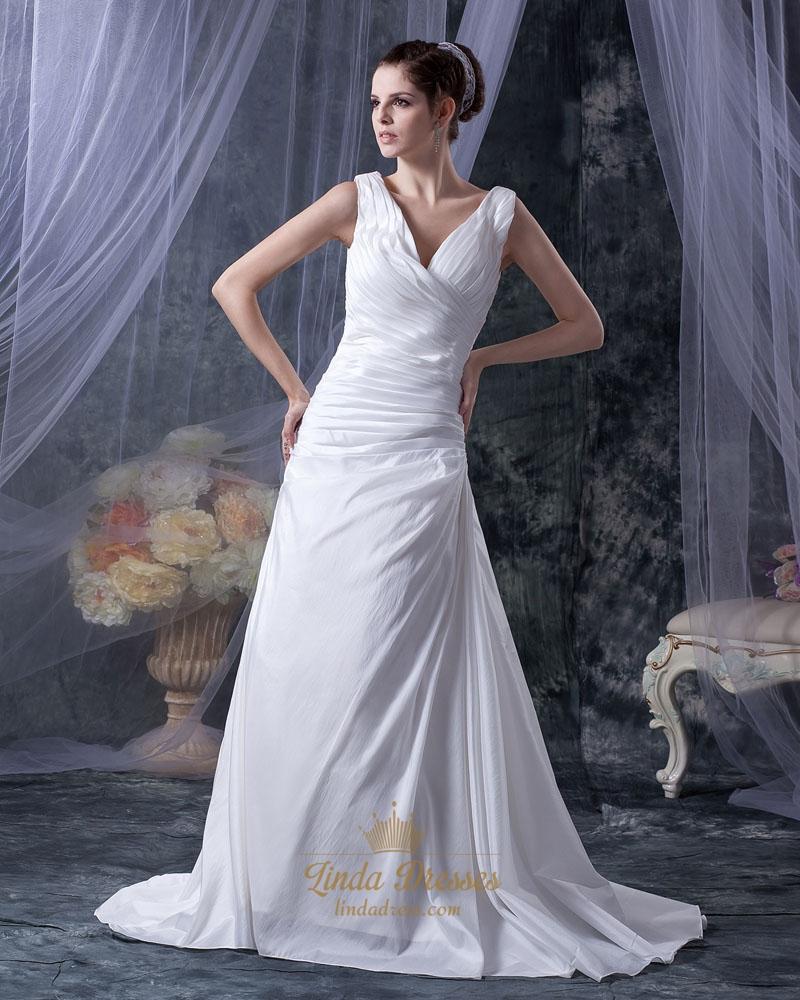 White Elegant V Neck Sleeveless Ruching Taffeta Dress For