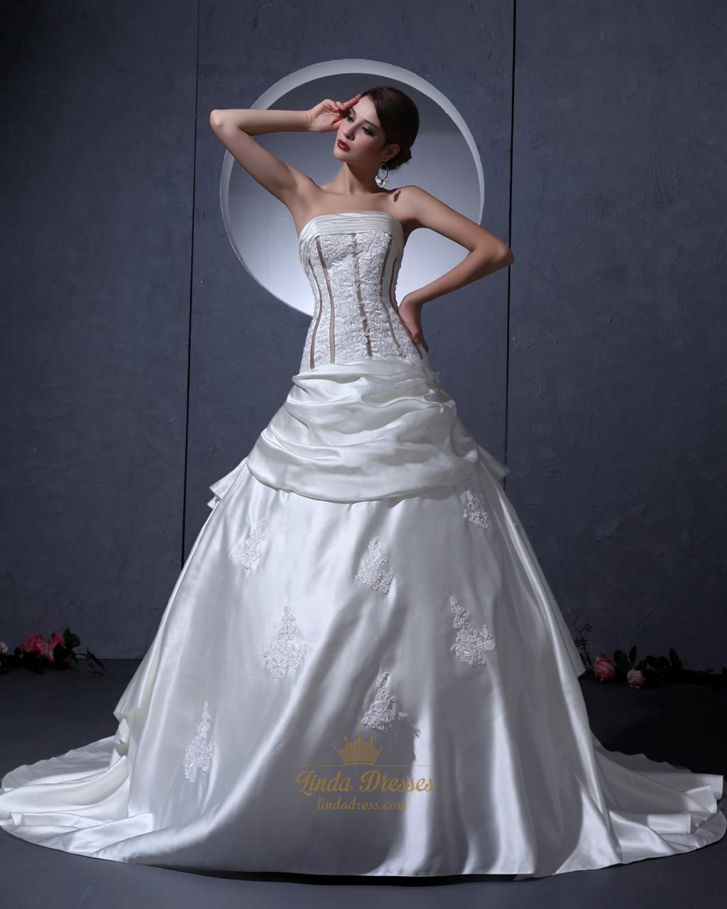 Ivory Satin Aline Strapless Wedding Dress With Floral