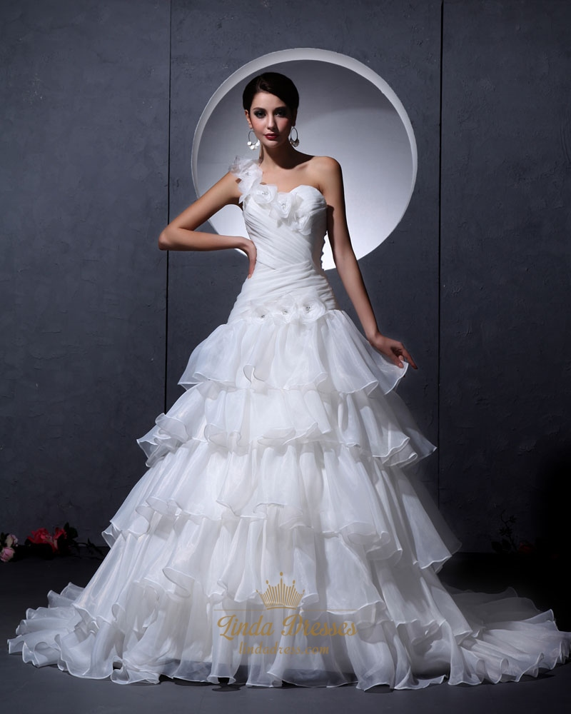 Ivory One Shoulder Flower Strap Sweetheart Organza Layered Wedding Dress