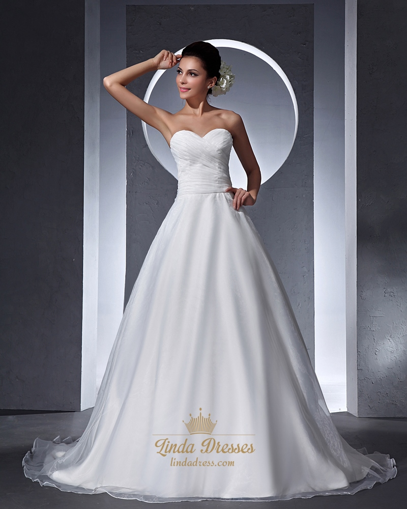 Elegant Lace Tulle Wedding Dresses Simple Design 3 4 Lace: Simple Elegant Ivory Organza Sweetheart Chapel Train