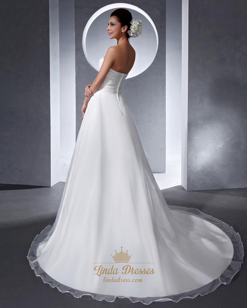 Simple elegant ivory organza sweetheart chapel train for Simple ivory wedding dresses
