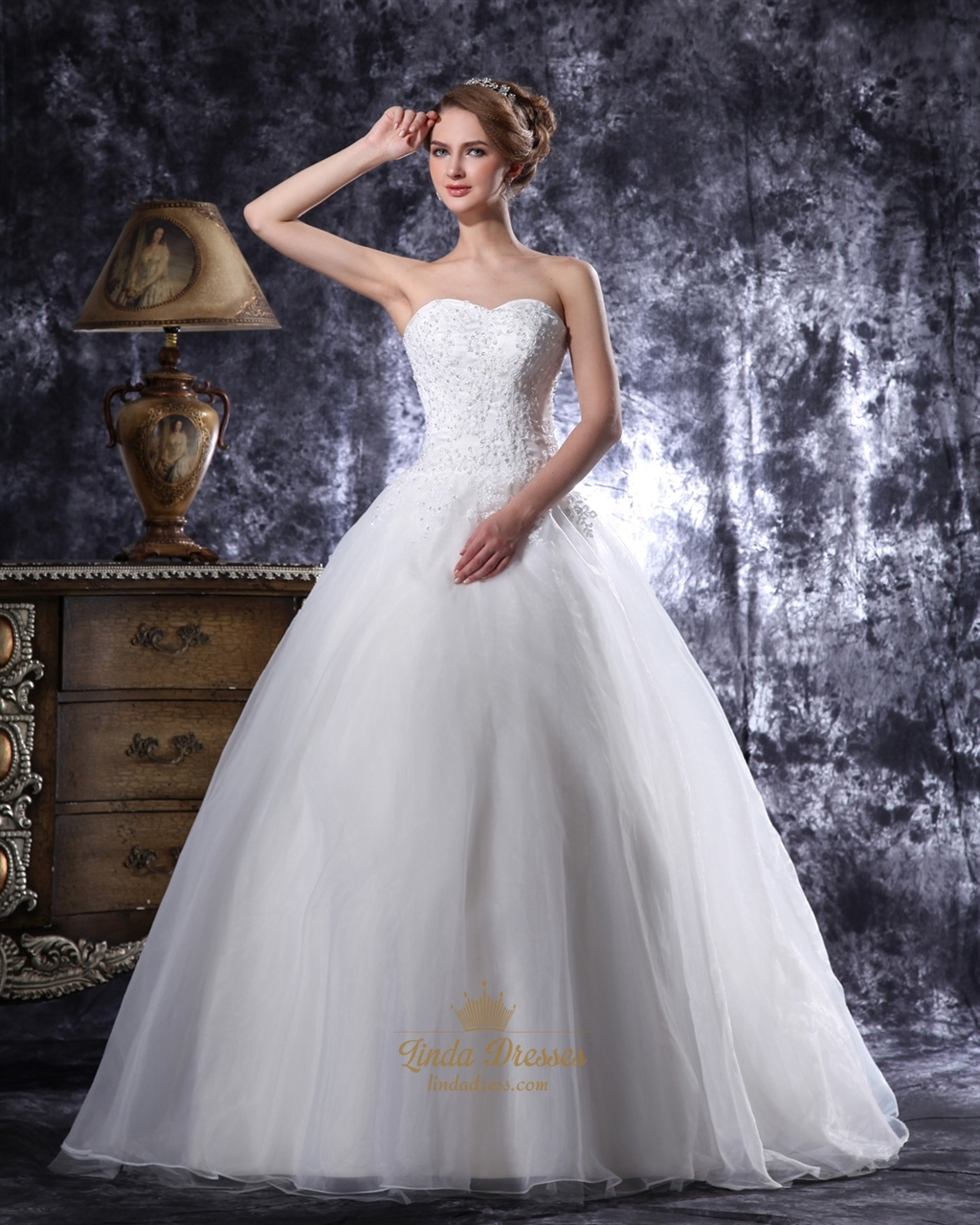 Ivory Dropped Waist Organza Wedding Gown With Beaded Lace