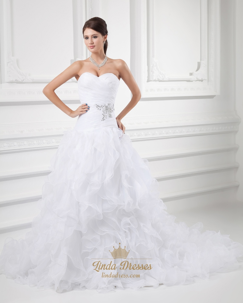 White Strapless Drop Waist Organza Wedding Dress With Ruffled Skirt