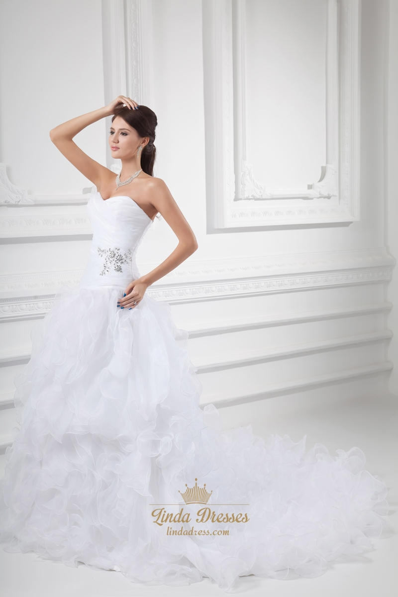 Ruffled Organza Skirt With Embroidered And Beaded Bodice: White Strapless Drop Waist Organza Wedding Dress With