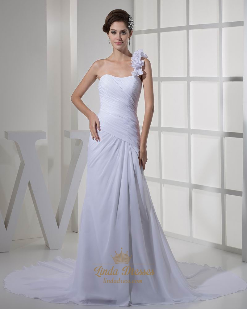 White One Shoulder Ruffle Slim A Line Chiffon Beach Wedding Dress