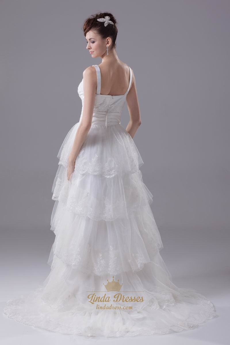 Vintage Ivory V Neck Tulle Layered Skirt Wedding Dress