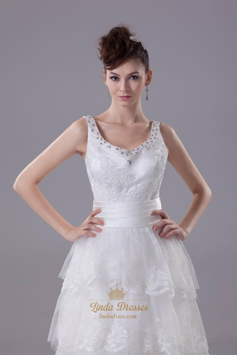 Vintage ivory v neck tulle layered skirt wedding dress for Vintage ivory wedding dresses