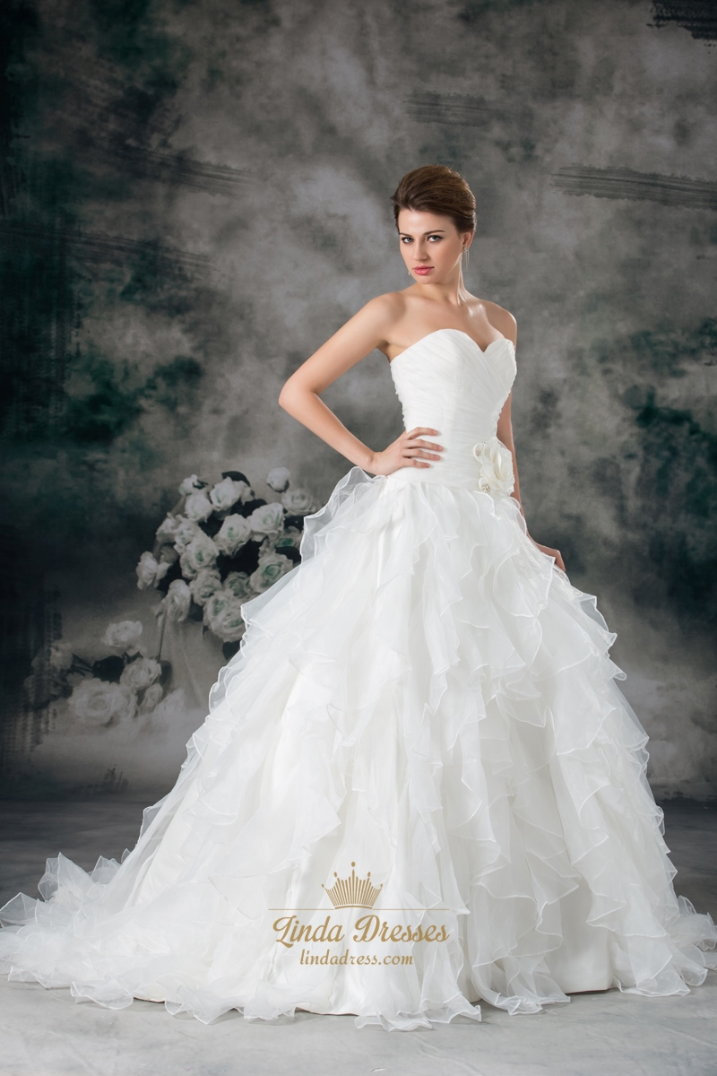 Ruffled Organza Skirt With Embroidered And Beaded Bodice: Ivory Sweetheart Strapless Organza Wedding Dress With