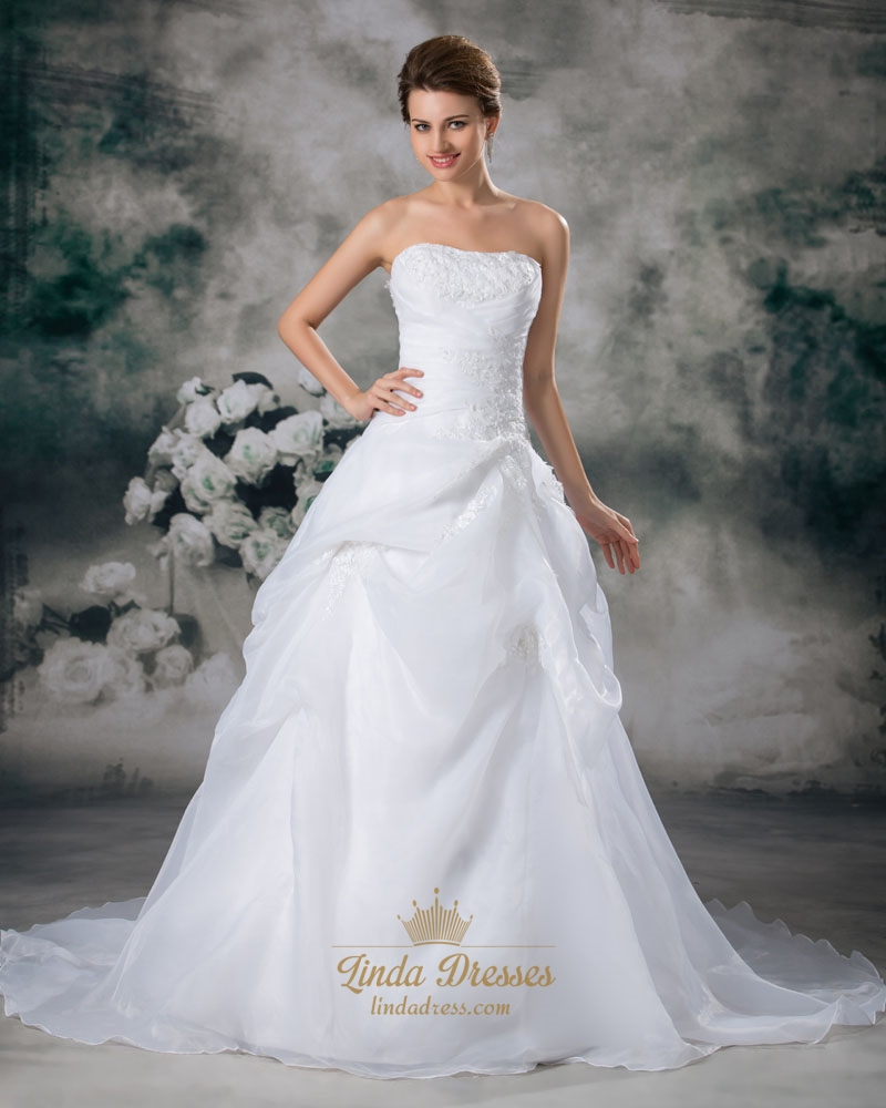 White strapless lace appliques organza wedding dress with for Pick up skirt wedding dresses