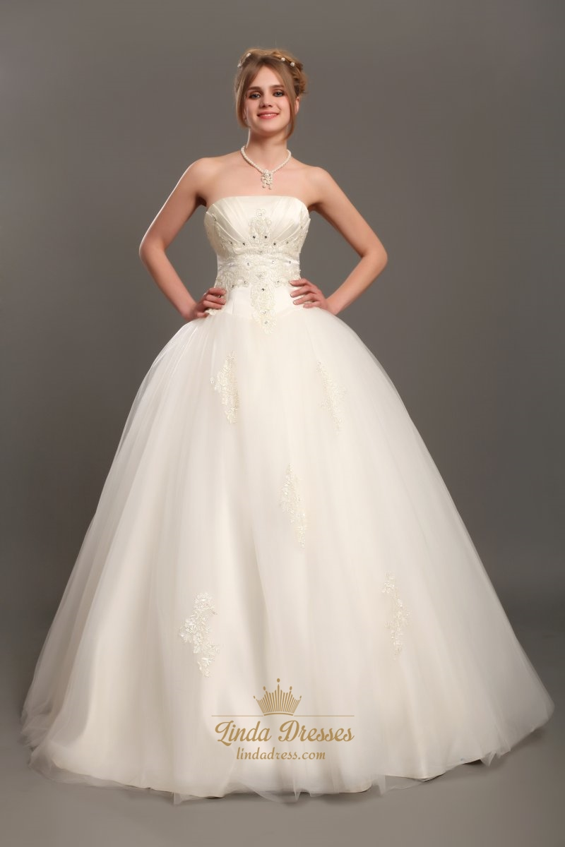 Ivory Strapless Tulle Ball Gown Wedding Gown With Beaded Appliques ...