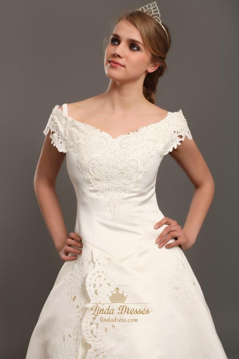 Ivory satin a line off the shoulder cap sleeve wedding for Wedding dress with off the shoulder sleeves
