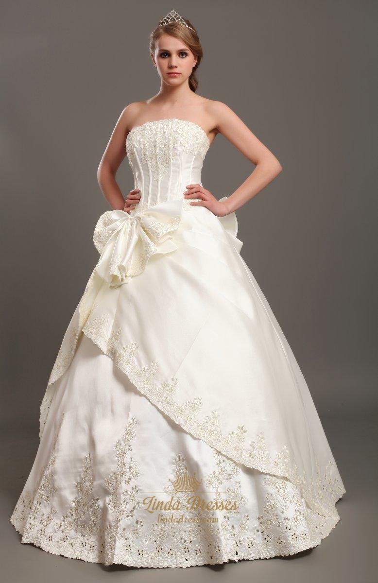 Ivory a line satin strapless wedding dresses with lace for A line ivory wedding dress