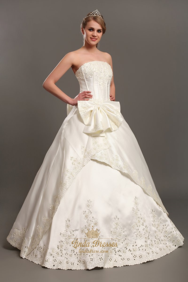Ivory a line satin strapless wedding dresses with lace for Applique for wedding dress