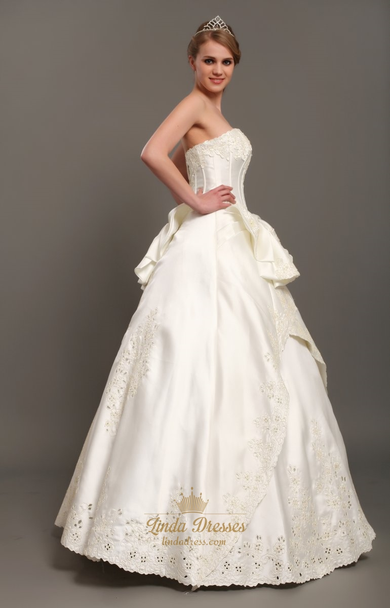 Ivory a line satin strapless wedding dresses with lace for Ivory satin wedding dress