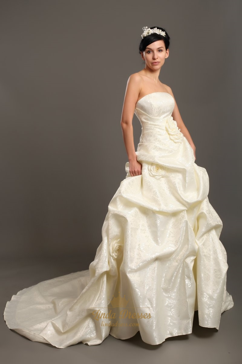 Ivory strapless pick up skirt lace wedding dresses with 3d for Pick up skirt wedding dresses