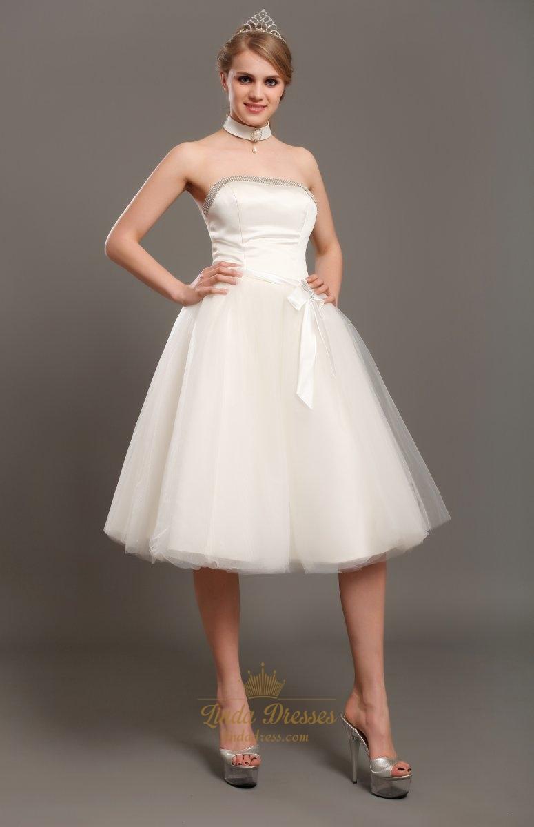 Vintage Ivory Tulle Strapless Tea Length Wedding Dress