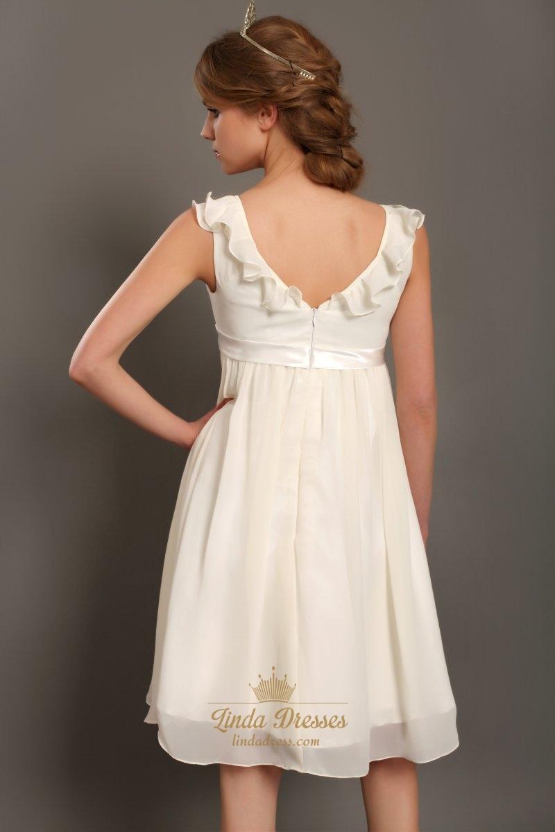 Ivory a line v neck knee length chiffon wedding dress with for Ivory knee length wedding dresses