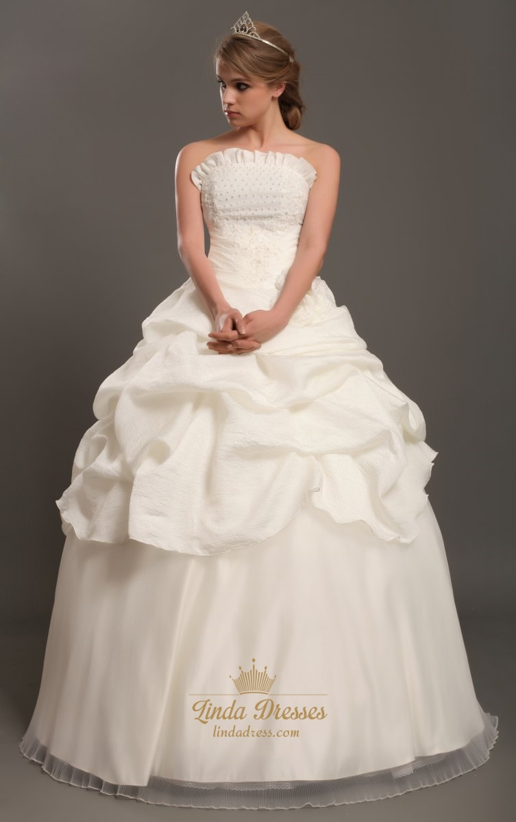 Ivory strapless taffeta pick up wedding dress with pearl for Pick up wedding dress