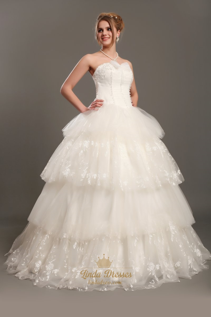 Ivory Sweetheart Strapless Ball Gown Wedding Dress With Layered ...