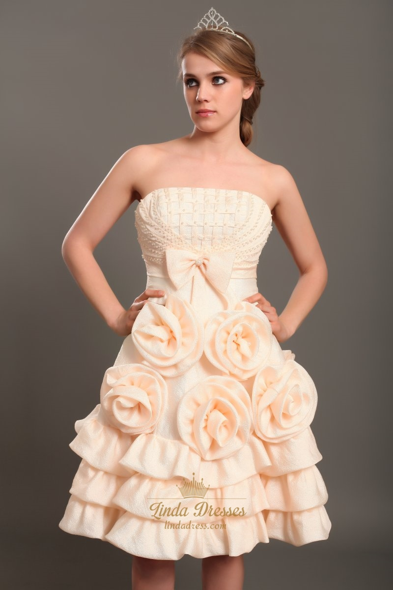 Short peach strapless beaded bodice wedding dress with for Beaded short wedding dress