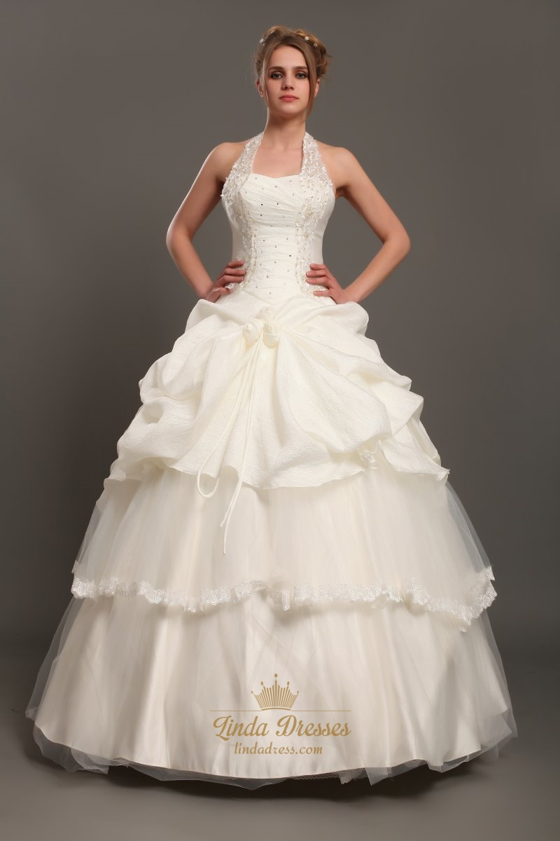Ivory Taffeta Halter Lace Embroidery Wedding Dress With Pick Ups ...