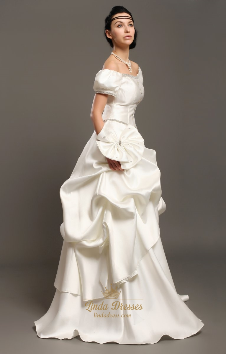 Ivory satin a line off the shoulder beaded wedding dress for Off the shoulder satin wedding dress
