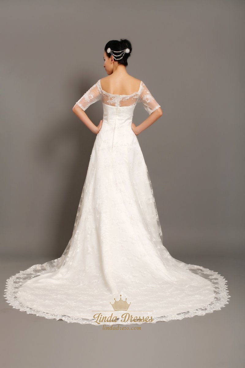 Ivory lace off the shoulder chapel train wedding dress for Wedding dresses with half sleeves