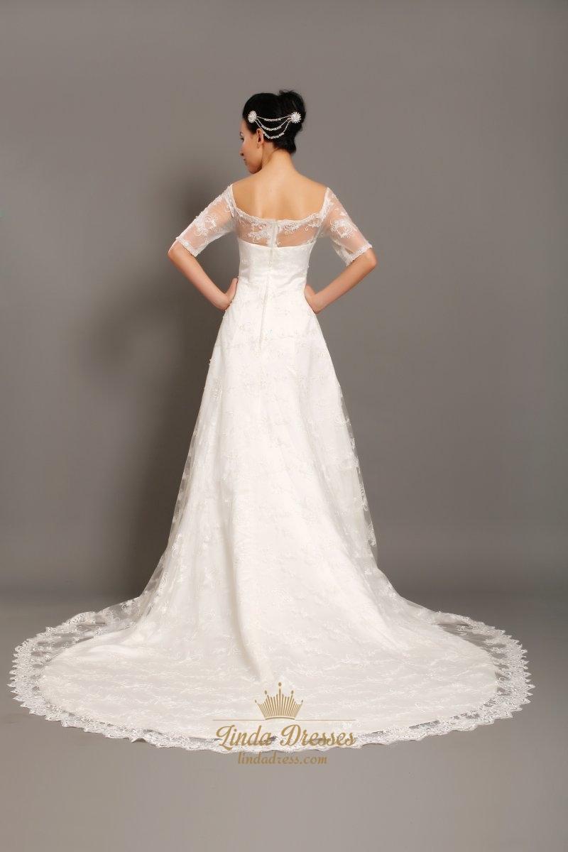 Ivory Lace Off The Shoulder Chapel Train Wedding Dress With Half Sleeve Linda Dress
