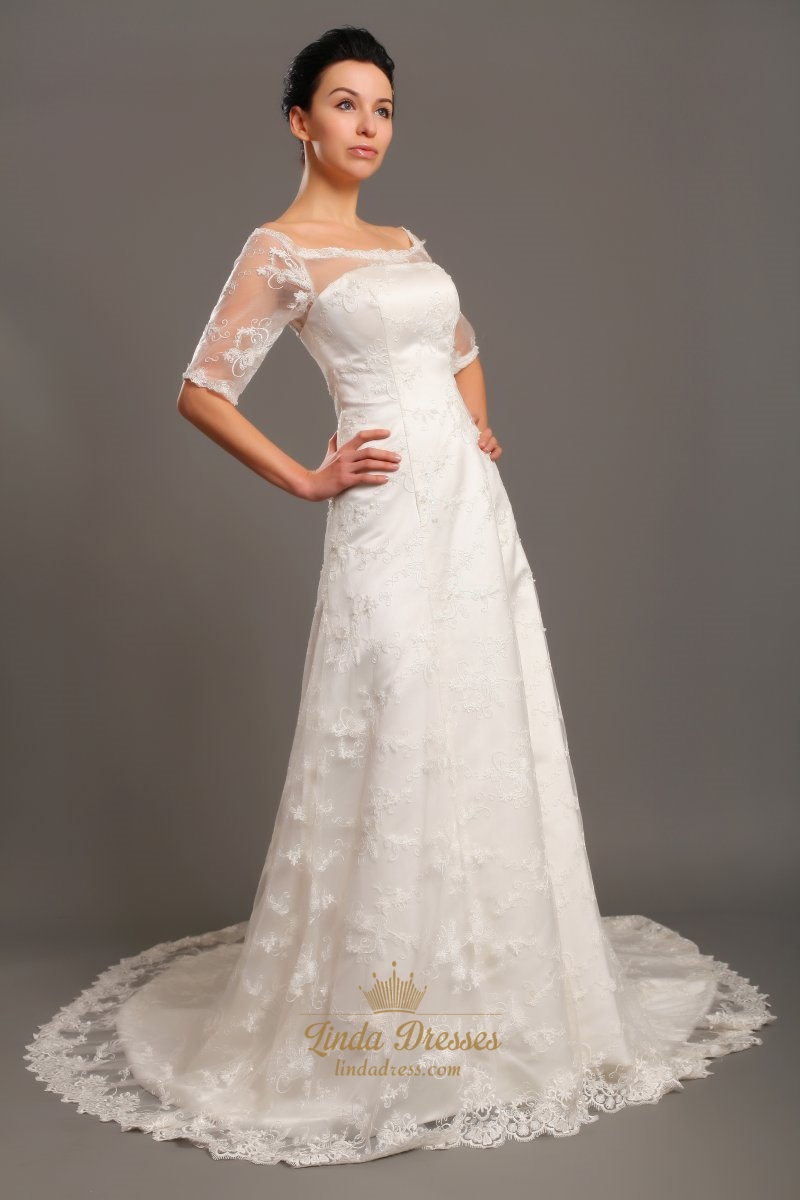 Ivory lace off the shoulder chapel train wedding dress for Ivory lace wedding dress with sleeves