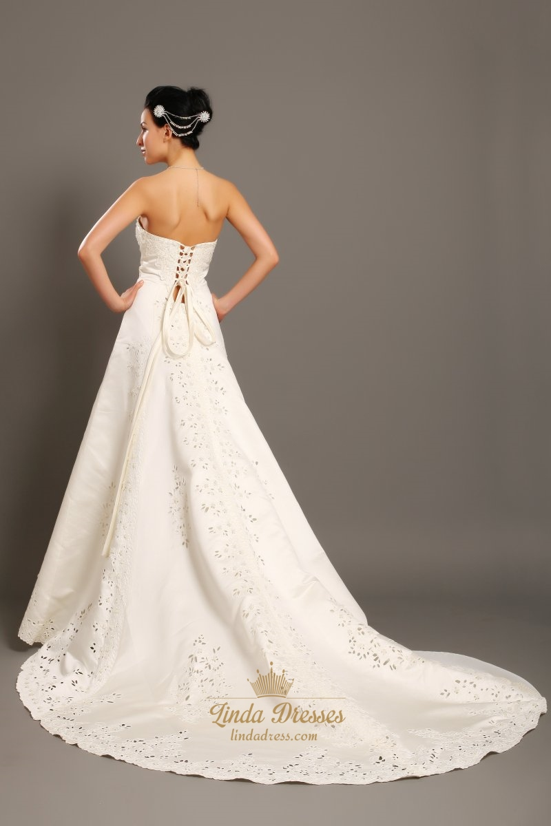 Ivory strapless a line dropped waist wedding gown with for Ivory beaded wedding dress