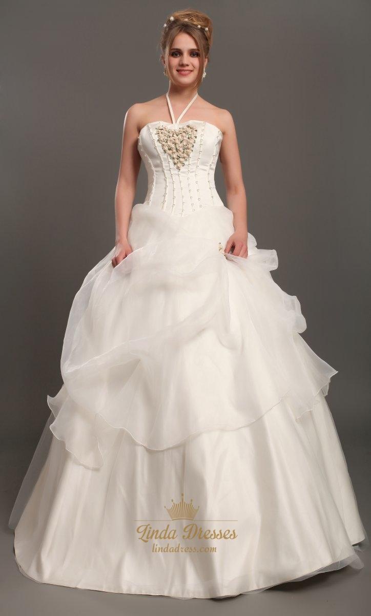 Ivory Halter Neck Organza Wedding Dresses With Floral Embellishments ...