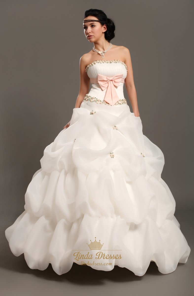 White Strapless Pick Ups Wedding Gown With Floral Embellishments ...