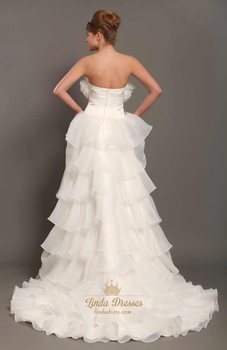 Ivory Unique Strapless High Low Organza Wedding Dress With