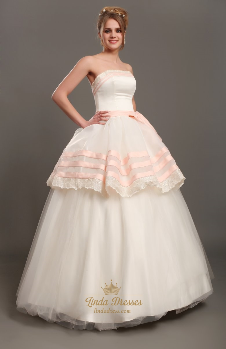 Ivory and pink strapless ball gown tulle wedding dress for Tulle halter wedding dress