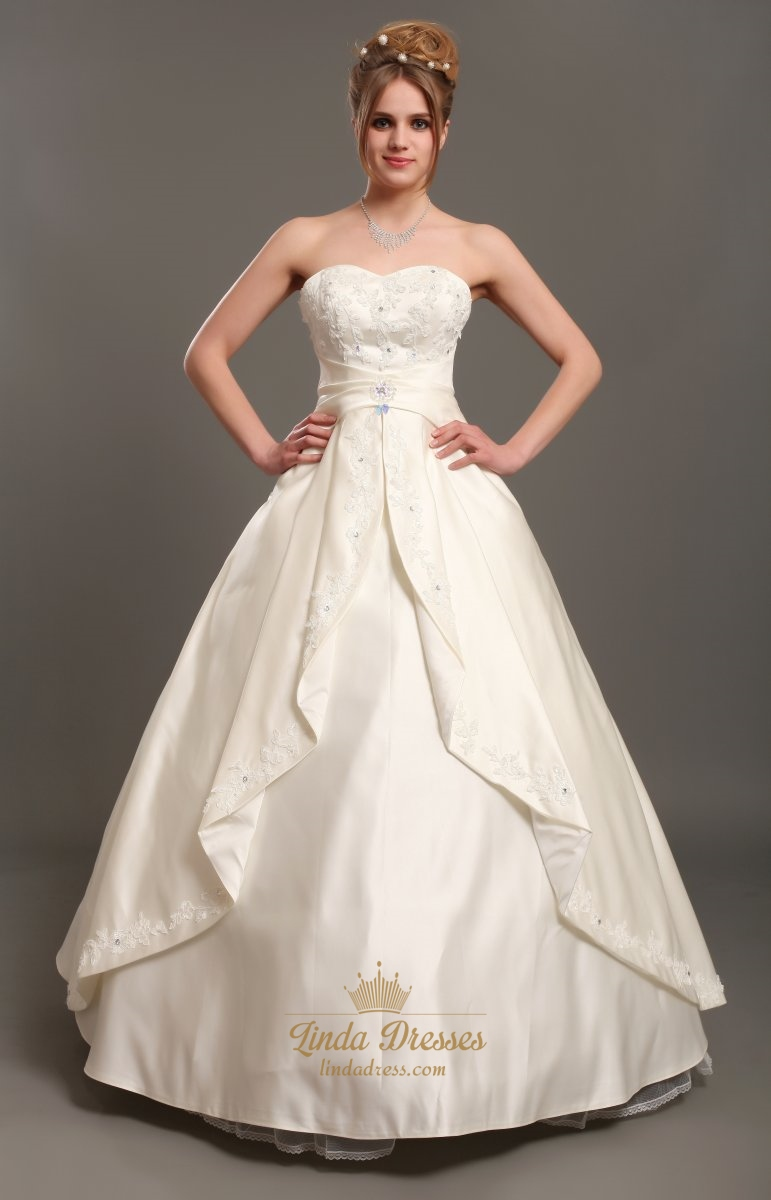 Ivory strapless a line satin wedding dresses with beaded for Design your own wedding dress app