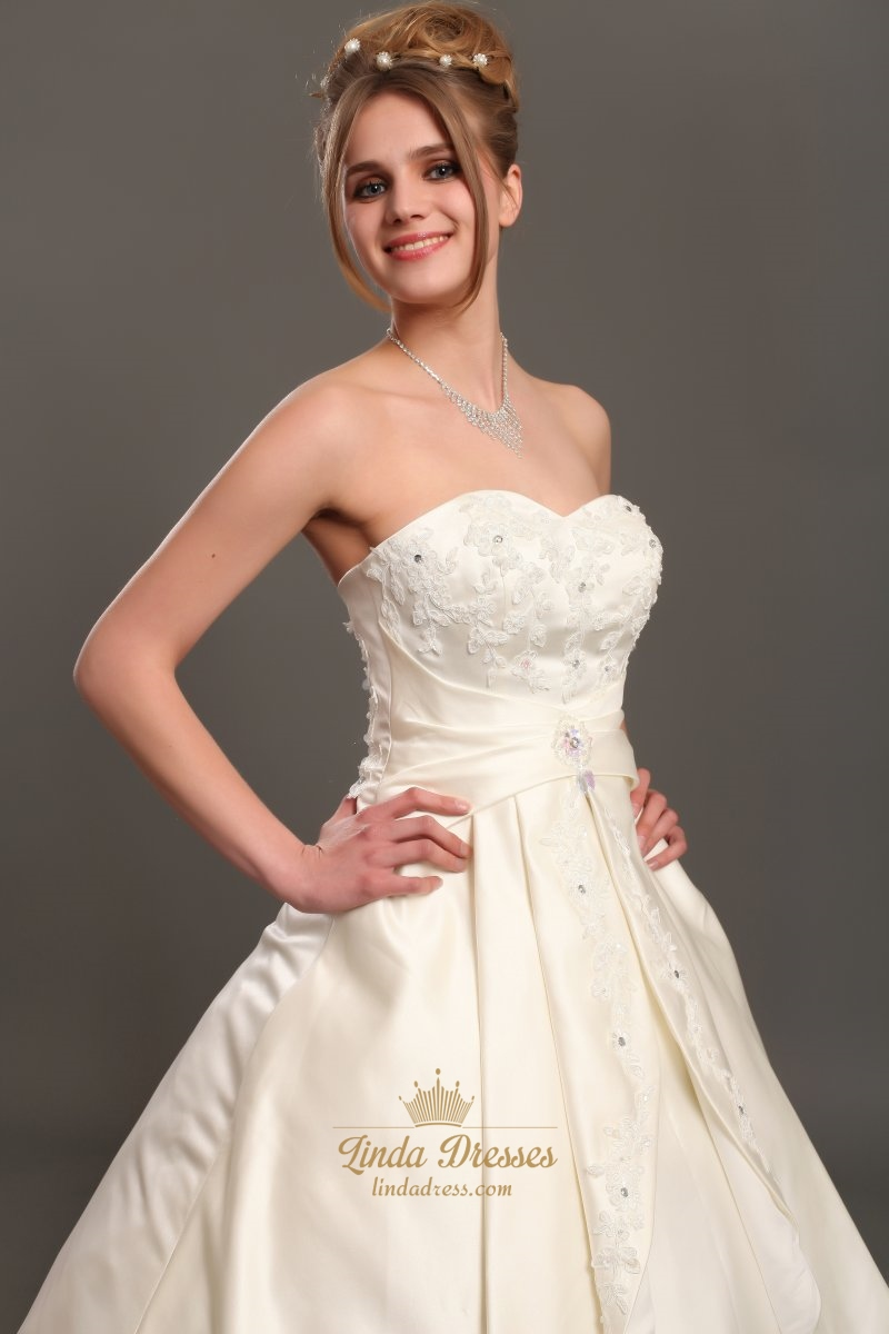 Ivory strapless a line satin wedding dresses with beaded for Ivory beaded wedding dress