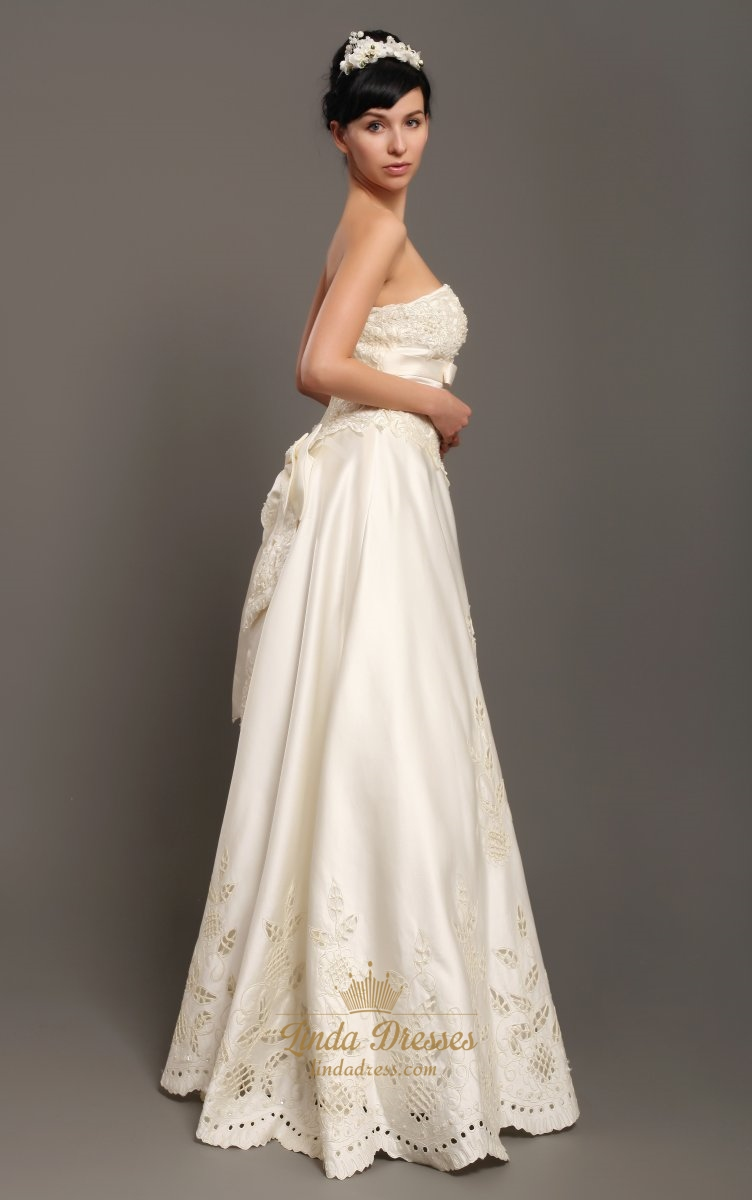 Ivory Strapless Satin Floor Length Wedding Dresses With